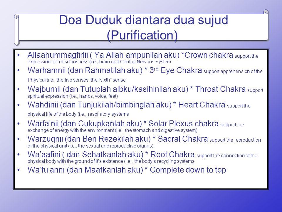 Doa Duduk diantara dua sujud (Purification)