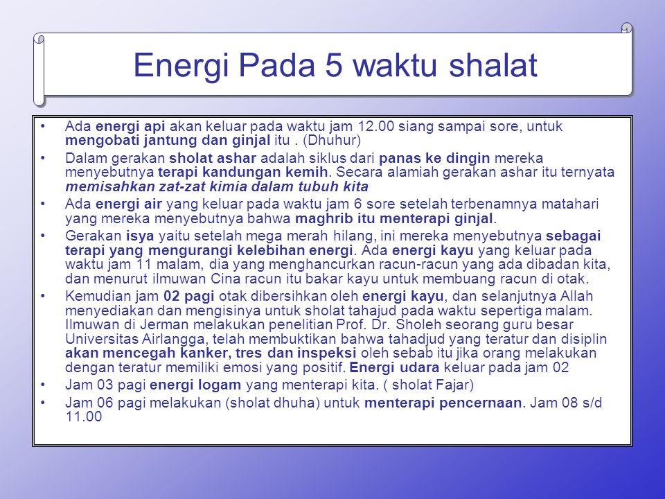 Energi Pada 5 waktu shalat