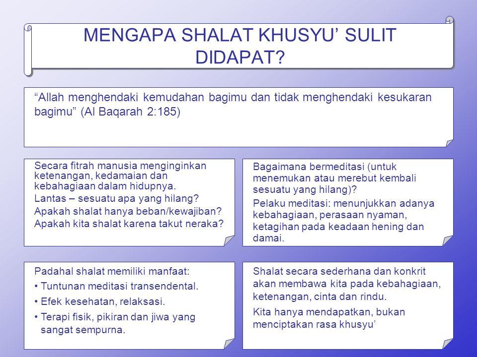 MENGAPA SHALAT KHUSYU' SULIT DIDAPAT