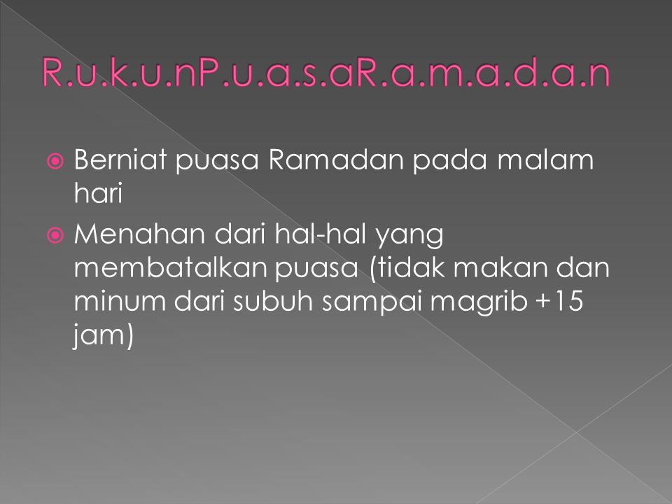 R.u.k.u.nP.u.a.s.aR.a.m.a.d.a.n Berniat puasa Ramadan pada malam hari