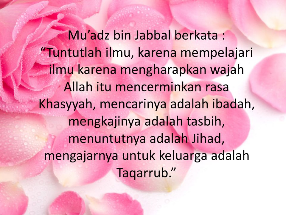 Mu'adz bin Jabbal berkata : Tuntutlah ilmu, karena mempelajari ilmu karena mengharapkan wajah Allah itu mencerminkan rasa Khasyyah, mencarinya adalah ibadah, mengkajinya adalah tasbih, menuntutnya adalah Jihad, mengajarnya untuk keluarga adalah Taqarrub.