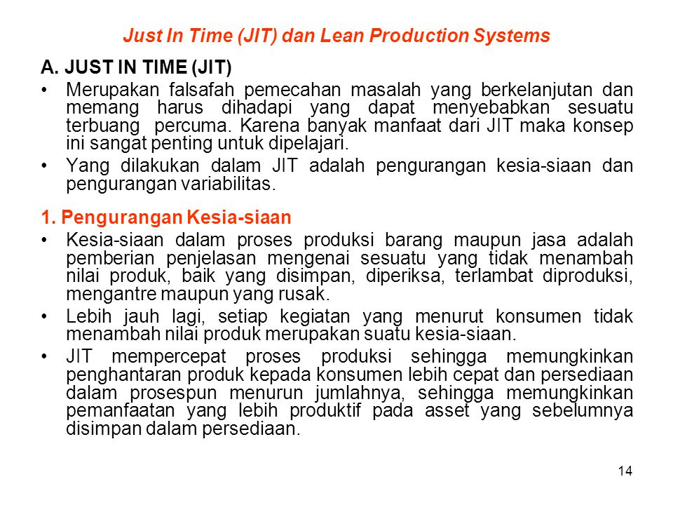 Just In Time (JIT) dan Lean Production Systems