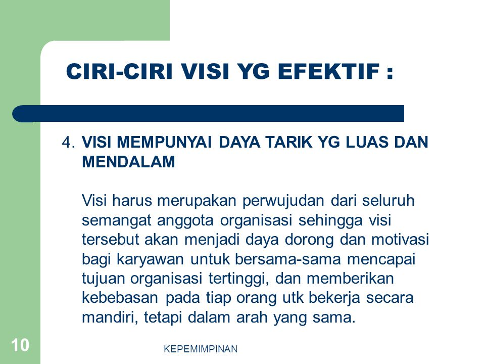 CIRI-CIRI VISI YG EFEKTIF :