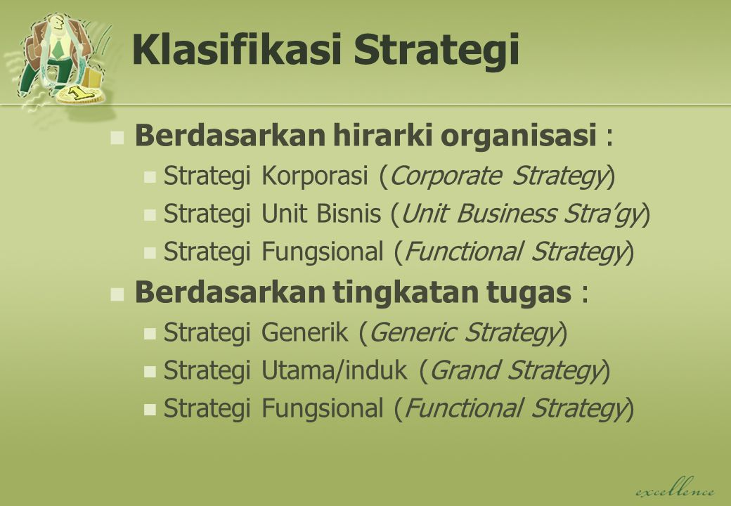 Klasifikasi Strategi Berdasarkan hirarki organisasi :