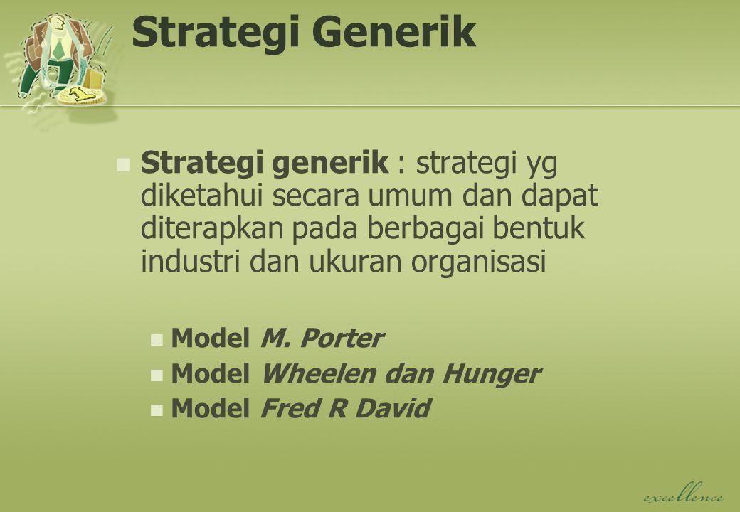 Strategi Generik Strategi generik : strategi yg diketahui secara umum dan dapat diterapkan pada berbagai bentuk industri dan ukuran organisasi.