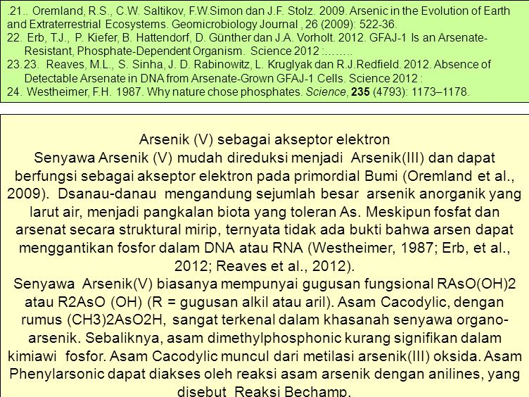 .21.. Oremland, R.S., C.W. Saltikov, F.W.Simon dan J.F. Stolz. 2009. Arsenic in the Evolution of Earth and Extraterrestrial Ecosystems. Geomicrobiology Journal , 26 (2009): 522-36.