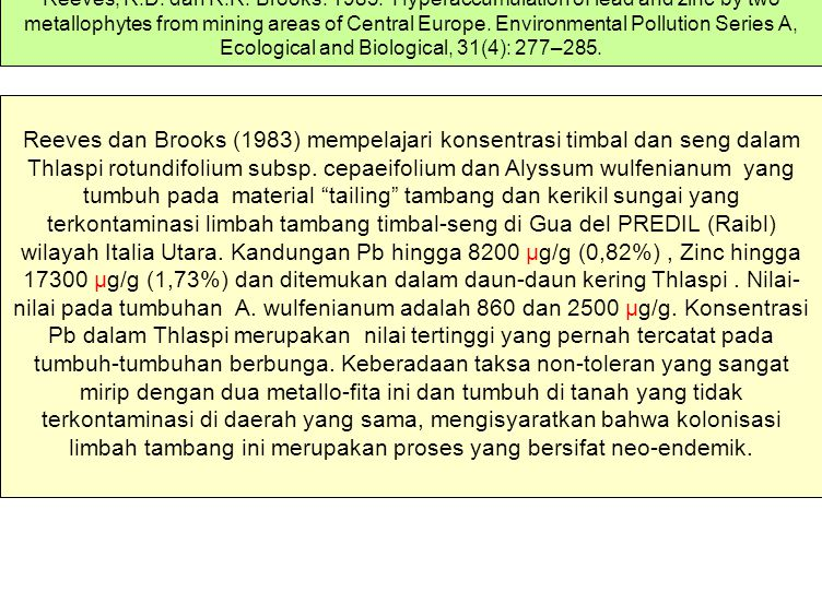 Reeves, R.D. dan R.R. Brooks. 1983. Hyperaccumulation of lead and zinc by two metallophytes from mining areas of Central Europe. Environmental Pollution Series A, Ecological and Biological, 31(4): 277–285.