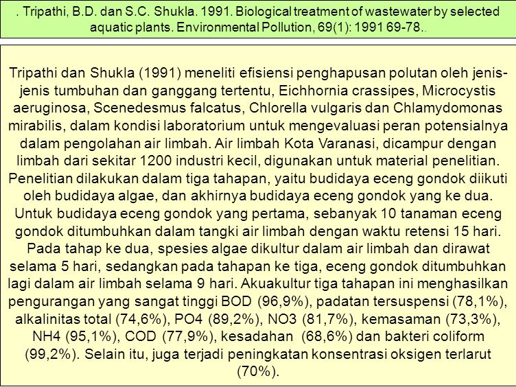 Tripathi, B. D. dan S. C. Shukla. 1991