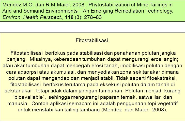 Mendez,M.O. dan R.M.Maier. 2008. Phytostabilization of Mine Tailings in Arid and Semiarid Environments—An Emerging Remediation Technology. Environ. Health Perspect., 116 (3): 278–83