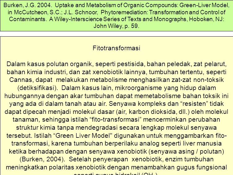Burken, J.G. 2004. Uptake and Metabolism of Organic Compounds: Green-Liver Model, in McCutcheon, S.C.; J.L. Schnoor, Phytoremediation: Transformation and Control of Contaminants. A Wiley-Interscience Series of Texts and Monographs, Hoboken, NJ: John Wiley, p. 59.
