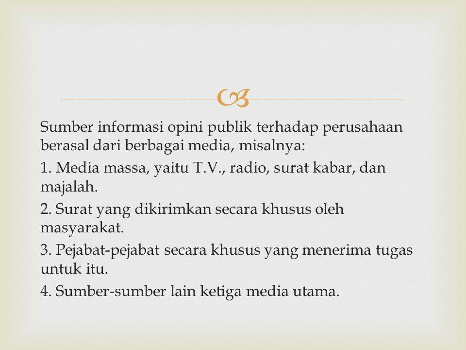 Sumber informasi opini publik terhadap perusahaan berasal dari berbagai media, misalnya: 1.