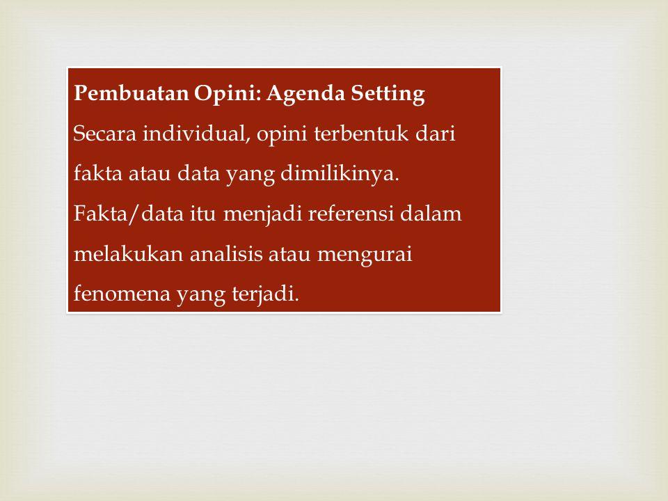 Pembuatan Opini: Agenda Setting