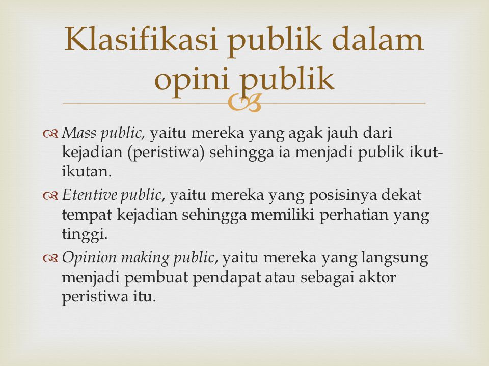 Klasifikasi publik dalam opini publik
