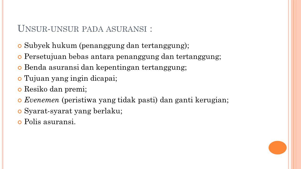 Unsur-unsur pada asuransi :