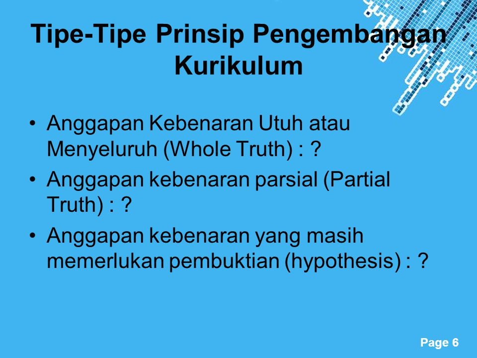 Tipe-Tipe Prinsip Pengembangan Kurikulum
