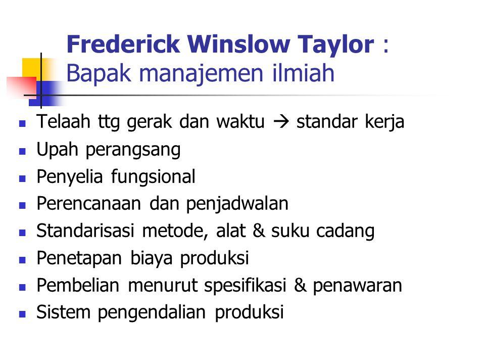 Frederick Winslow Taylor : Bapak manajemen ilmiah