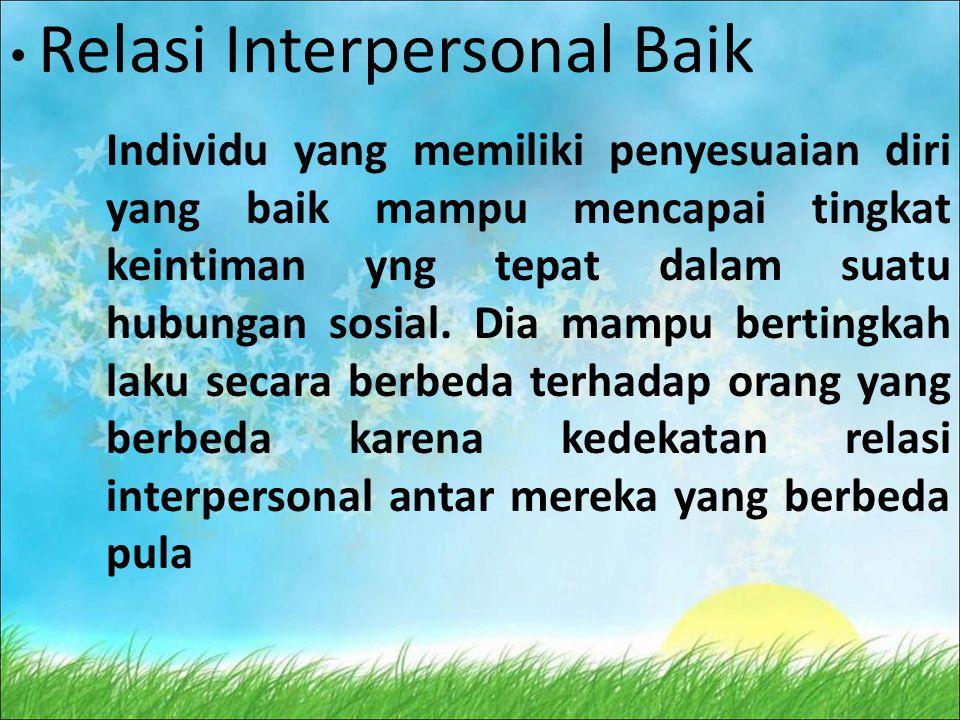 Relasi Interpersonal Baik