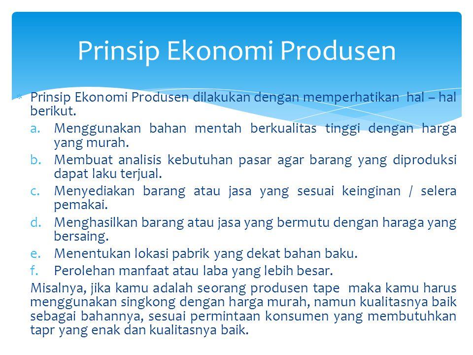 Prinsip Ekonomi Produsen