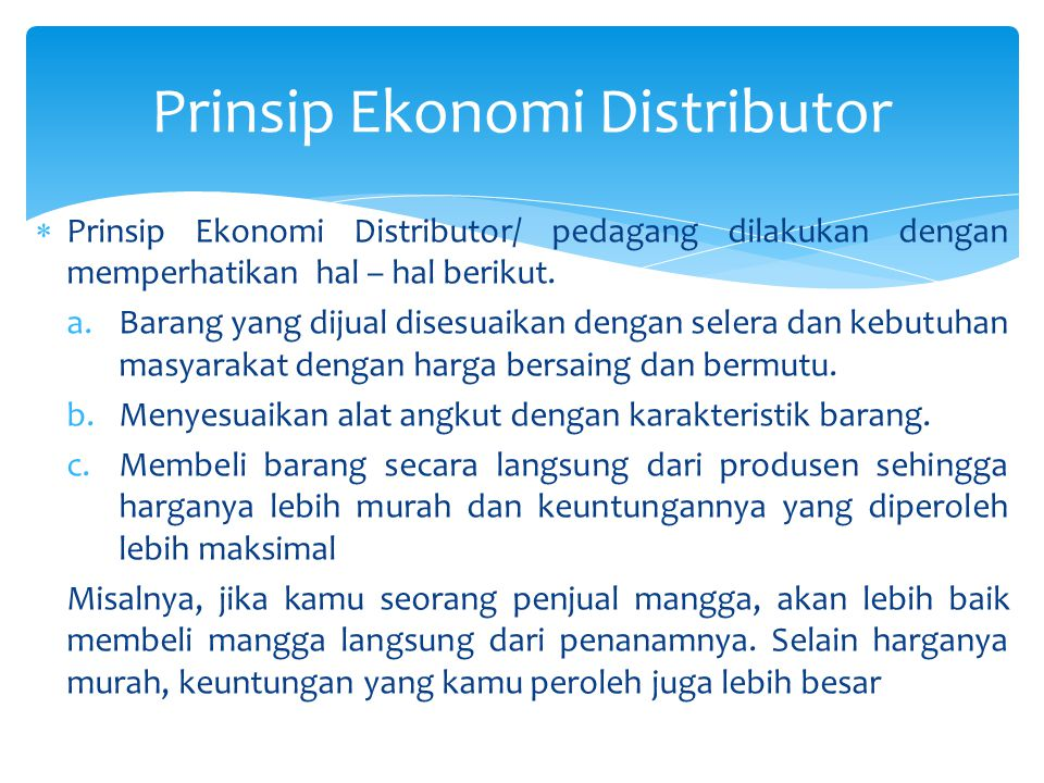 Prinsip Ekonomi Distributor