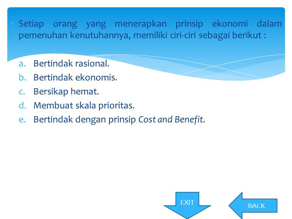 Membuat skala prioritas. Bertindak dengan prinsip Cost and Benefit.