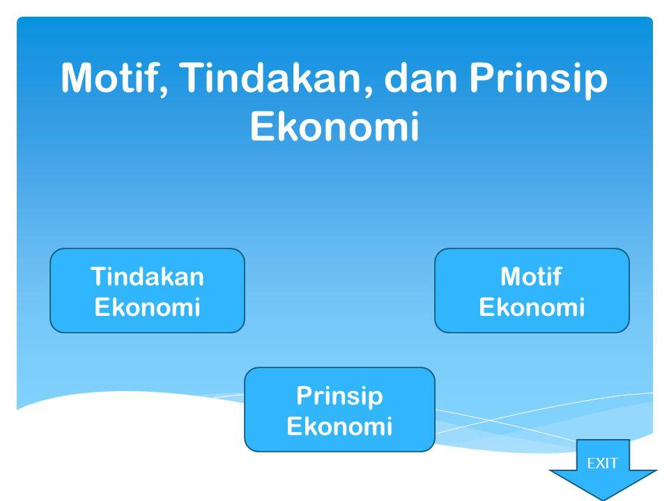 Motif, Tindakan, dan Prinsip Ekonomi
