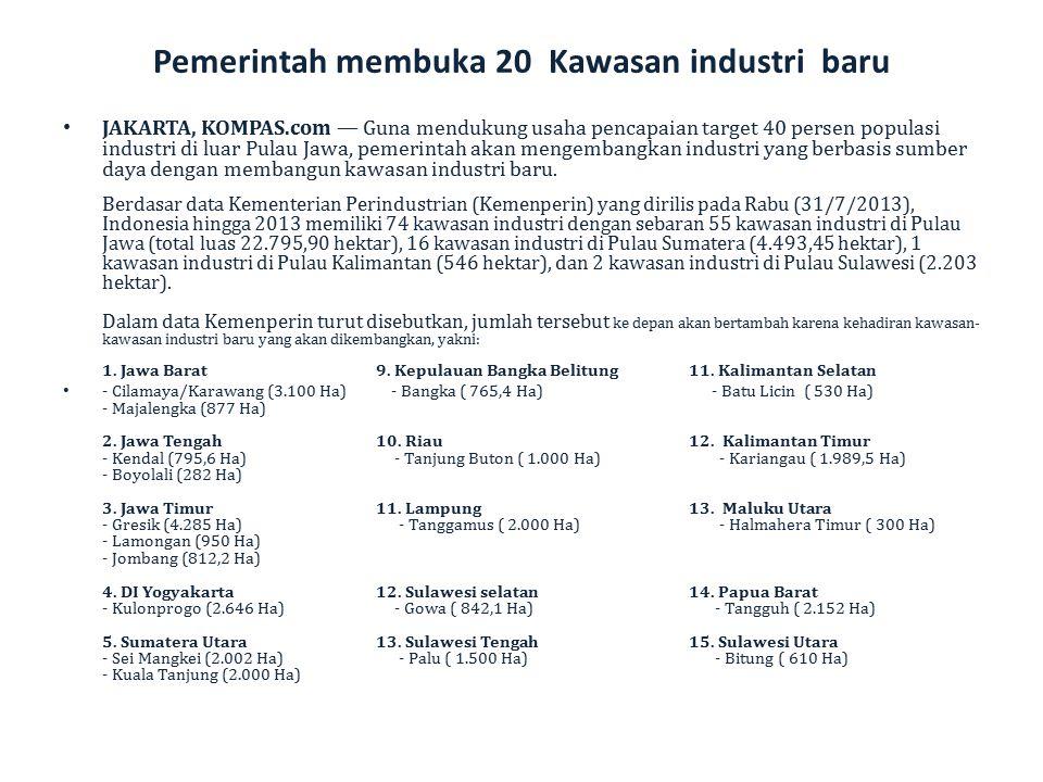 Pemerintah membuka 20 Kawasan industri baru