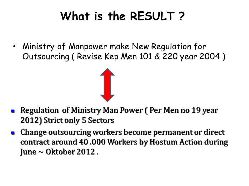 What is the RESULT Ministry of Manpower make New Regulation for Outsourcing ( Revise Kep Men 101 & 220 year 2004 )