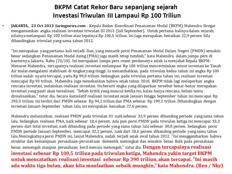 BKPM Catat Rekor Baru sepanjang sejarah Investasi Triwulan III Lampaui Rp 100 Triliun