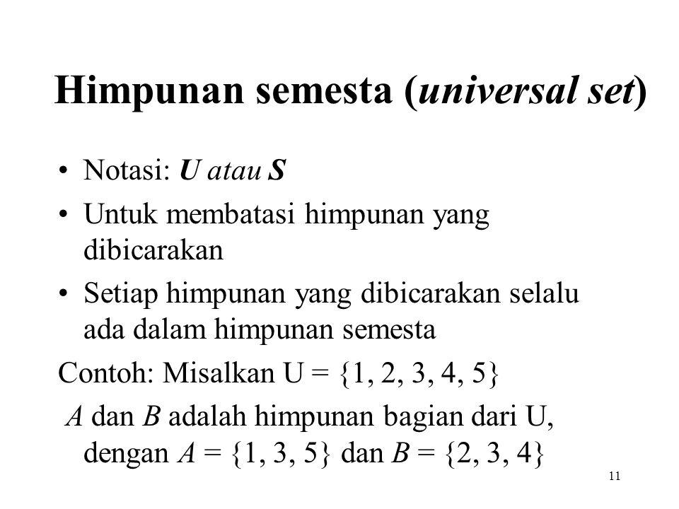 Himpunan semesta (universal set)