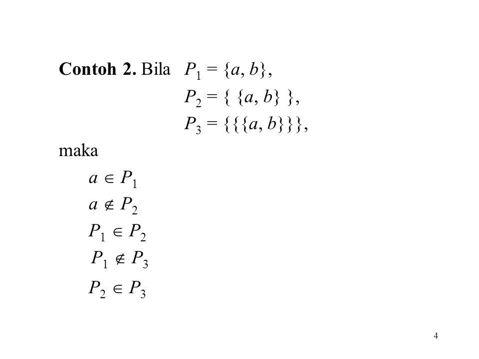 Contoh 2. Bila P1 = {a, b}, P2 = { {a, b} }, P3 = {{{a, b}}}, maka