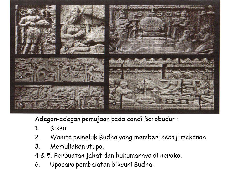 Adegan-adegan pemujaan pada candi Borobudur :
