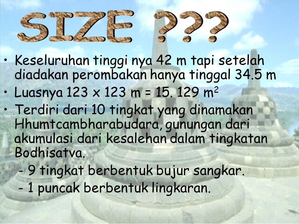 SIZE Keseluruhan tinggi nya 42 m tapi setelah diadakan perombakan hanya tinggal 34.5 m. Luasnya 123 x 123 m = 15. 129 m2.