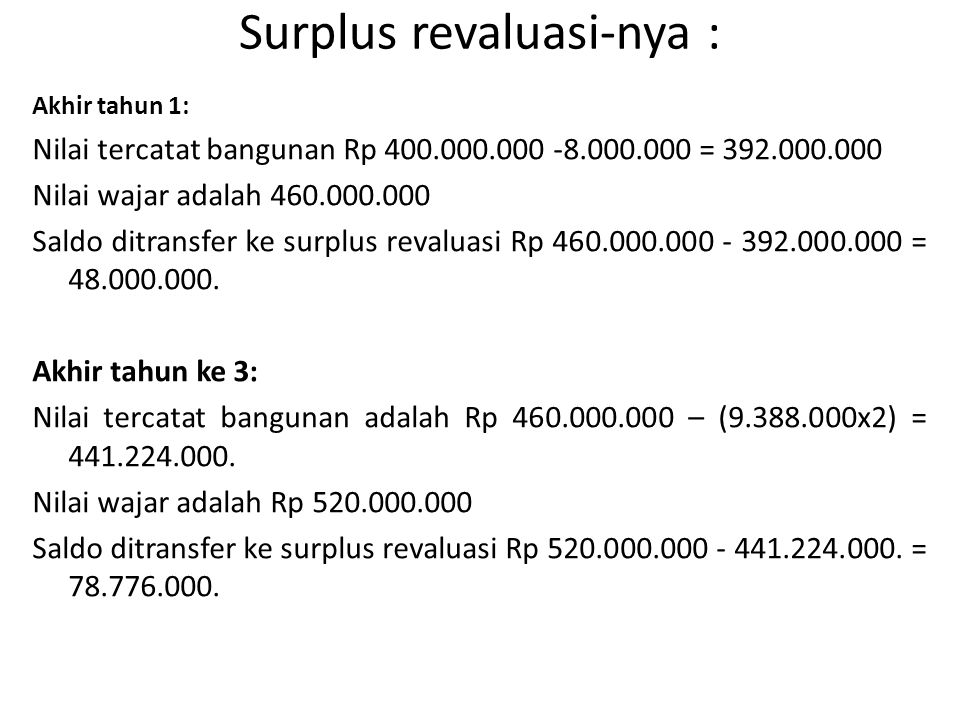 Surplus revaluasi-nya :
