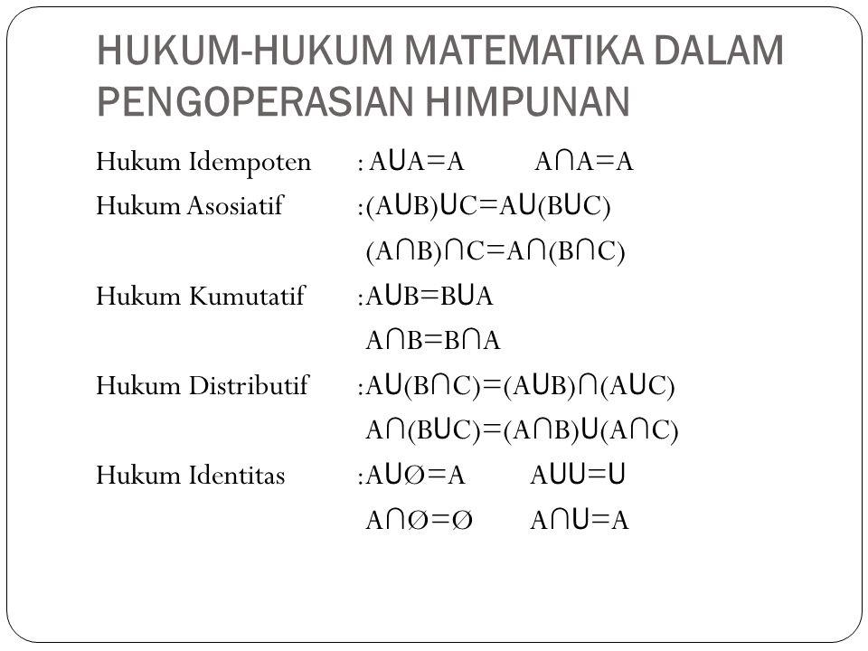 HUKUM-HUKUM MATEMATIKA DALAM PENGOPERASIAN HIMPUNAN