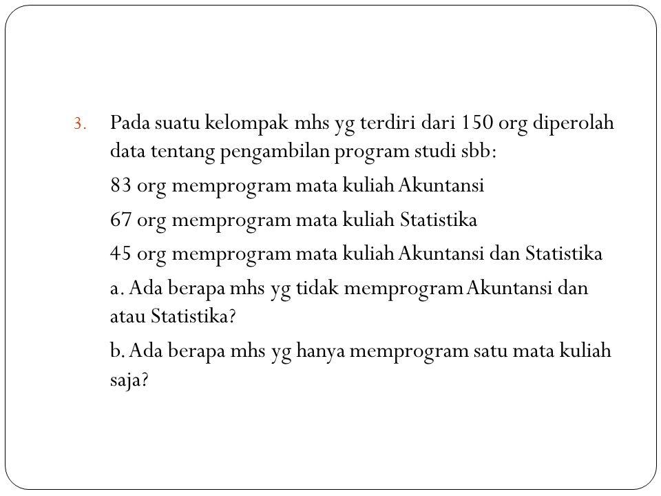 Pada suatu kelompak mhs yg terdiri dari 150 org diperolah data tentang pengambilan program studi sbb: