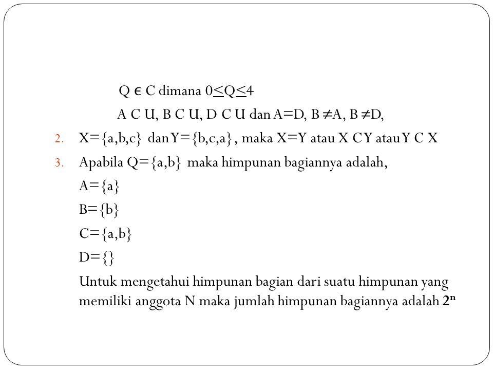 Q ϵ C dimana 0<Q<4 A C U, B C U, D C U dan A=D, B ≠A, B ≠D, X={a,b,c} dan Y={b,c,a}, maka X=Y atau X C Y atau Y C X.