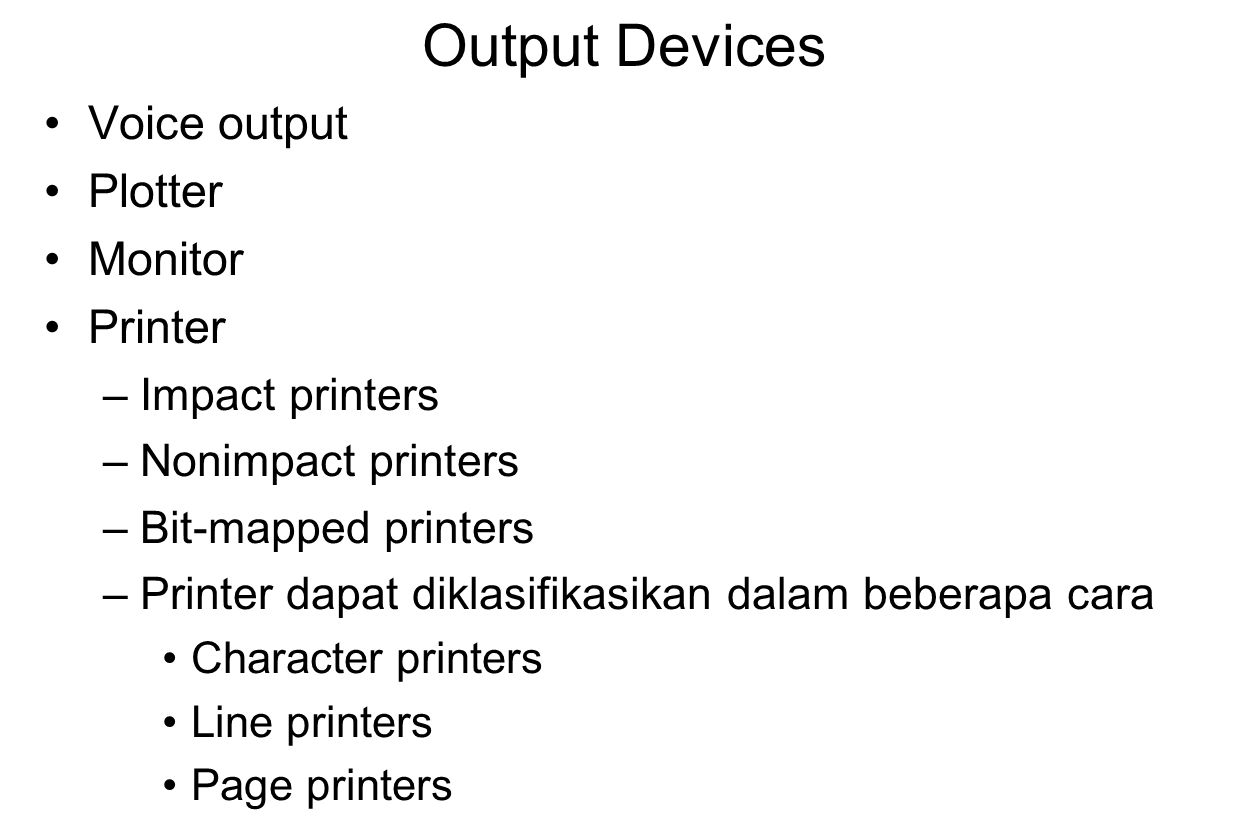 Output Devices Voice output Plotter Monitor Printer Impact printers