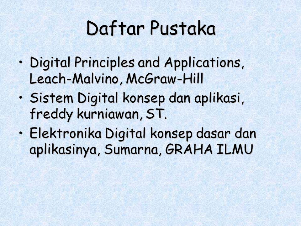 Daftar Pustaka Digital Principles and Applications, Leach-Malvino, McGraw-Hill. Sistem Digital konsep dan aplikasi, freddy kurniawan, ST.