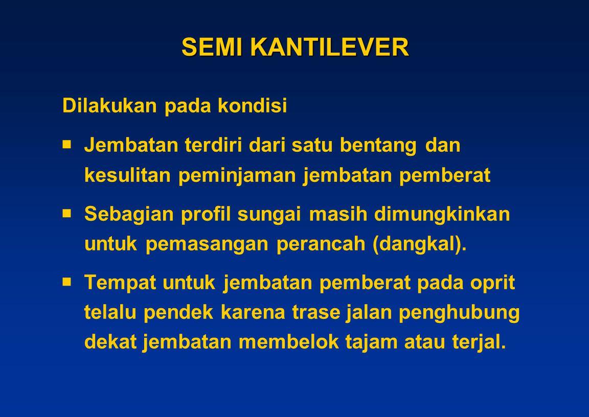 SEMI KANTILEVER Dilakukan pada kondisi