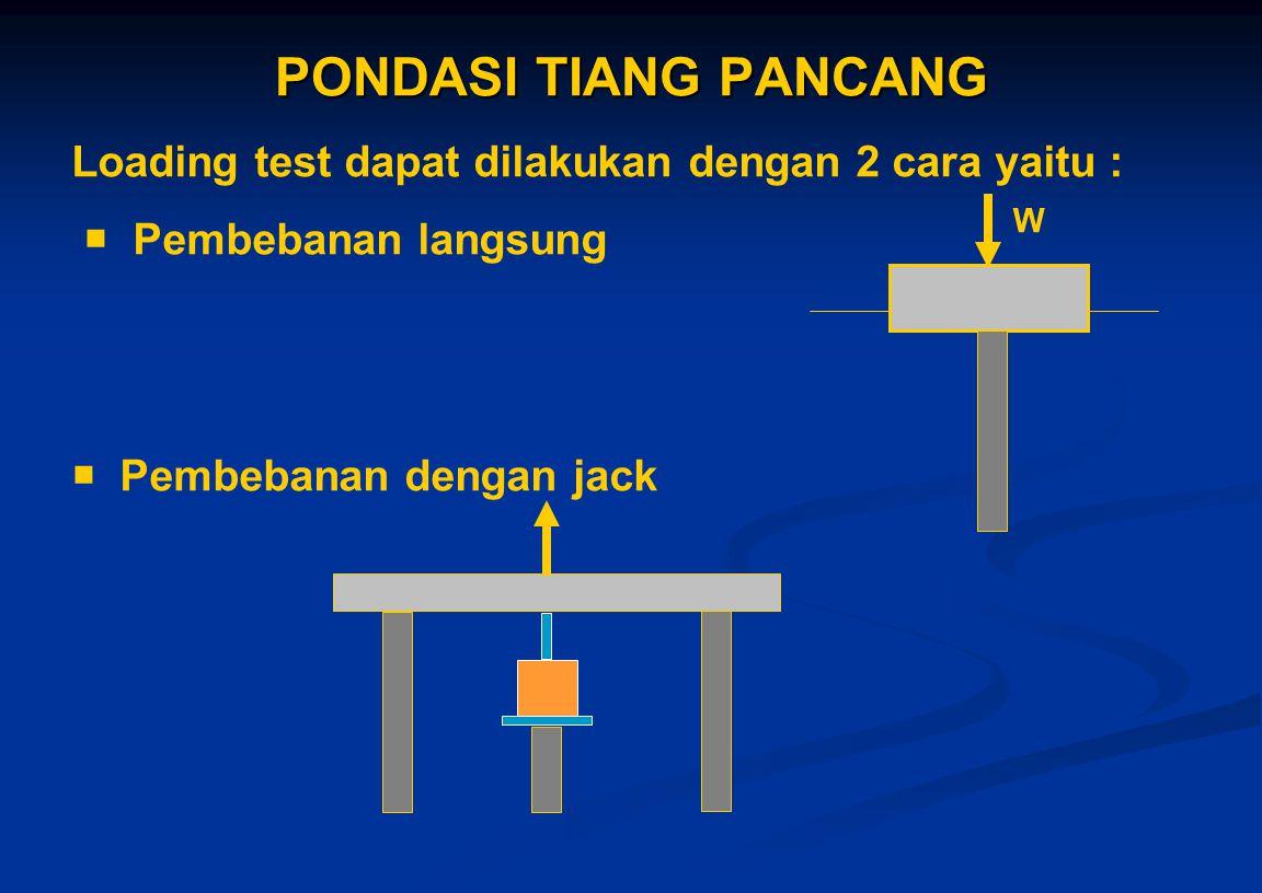PONDASI TIANG PANCANG Loading test dapat dilakukan dengan 2 cara yaitu :  Pembebanan langsung.  Pembebanan dengan jack.