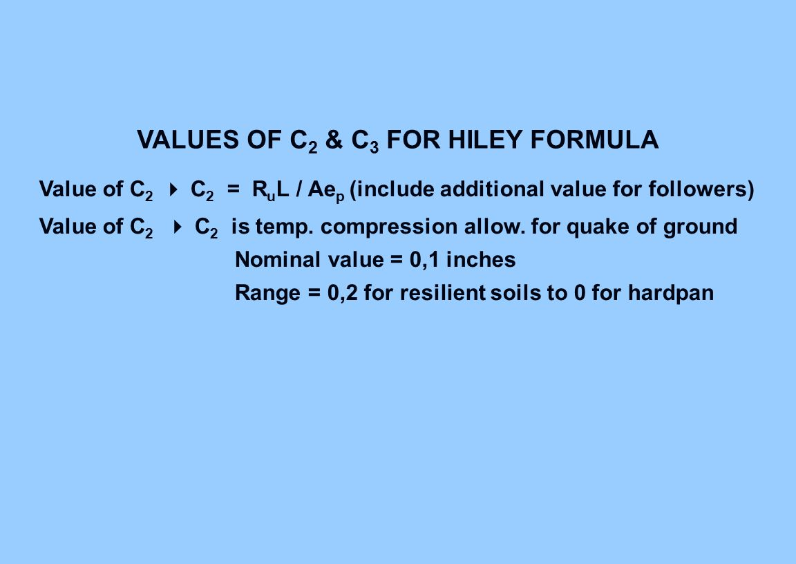 VALUES OF C2 & C3 FOR HILEY FORMULA