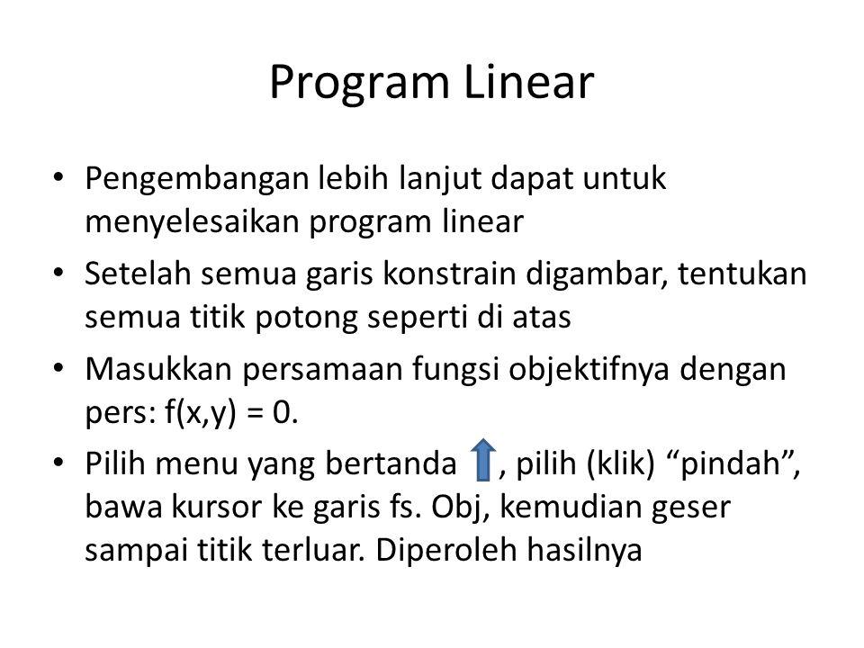 Program Linear Pengembangan lebih lanjut dapat untuk menyelesaikan program linear.