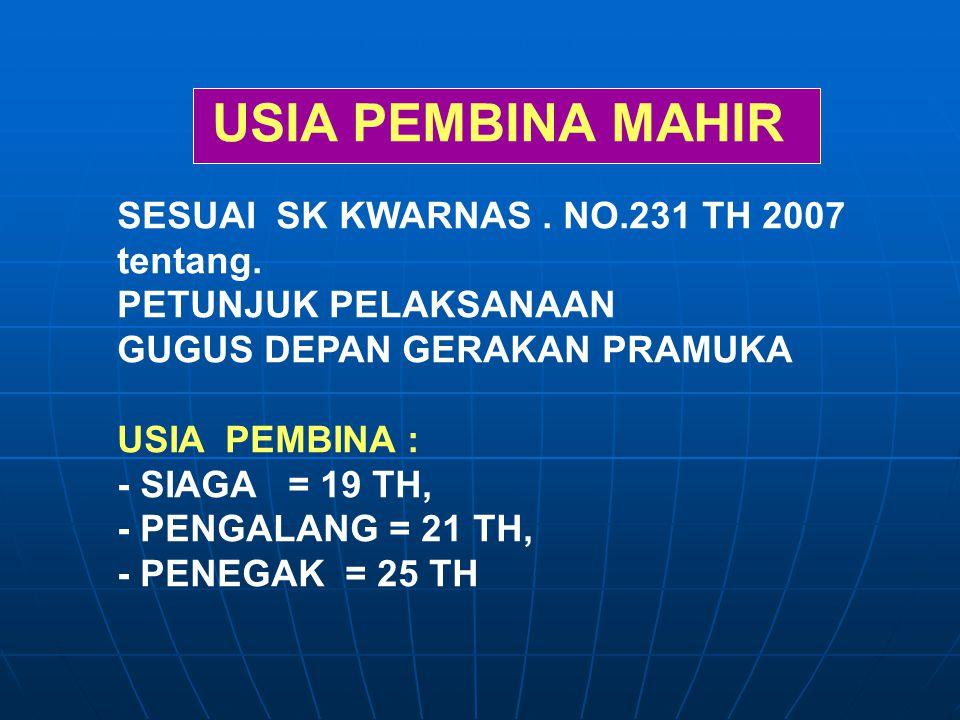 USIA PEMBINA MAHIR SESUAI SK KWARNAS . NO.231 TH 2007 tentang.