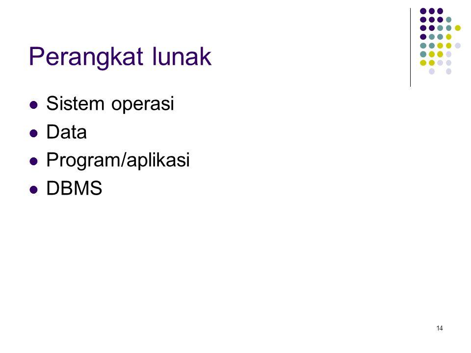 Perangkat lunak Sistem operasi Data Program/aplikasi DBMS