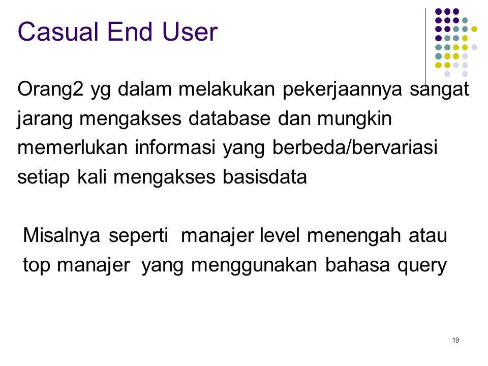 Casual End User Orang2 yg dalam melakukan pekerjaannya sangat
