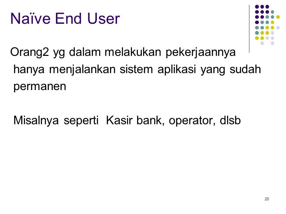 Naïve End User Orang2 yg dalam melakukan pekerjaannya