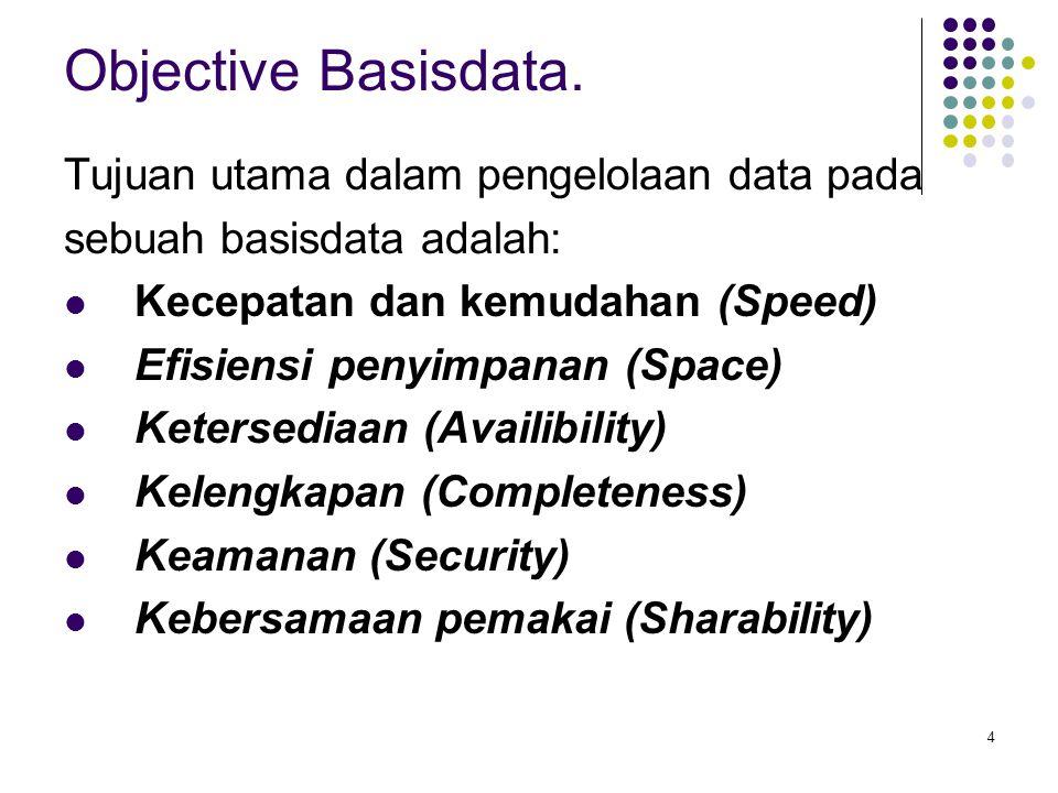 Objective Basisdata. Tujuan utama dalam pengelolaan data pada
