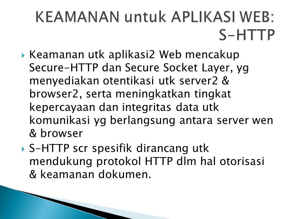 KEAMANAN untuk APLIKASI WEB: S-HTTP