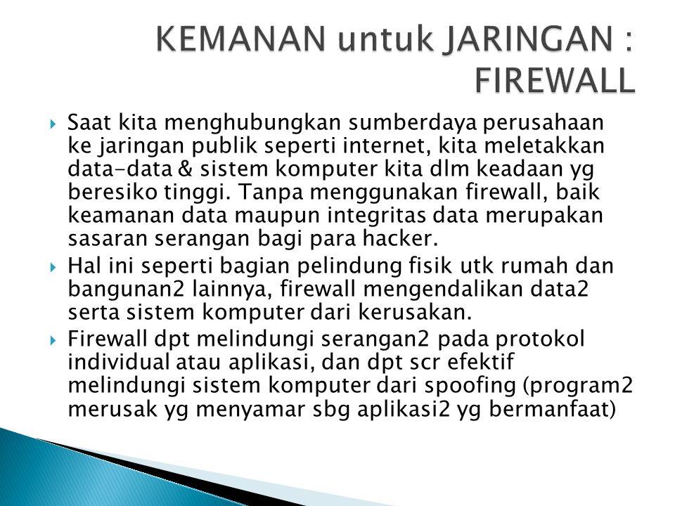 KEMANAN untuk JARINGAN : FIREWALL