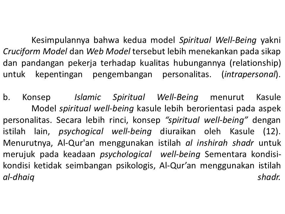 Kesimpulannya bahwa kedua model Spiritual Well-Being yakni Cruciform Model dan Web Model tersebut lebih menekankan pada sikap dan pandangan pekerja terhadap kualitas hubungannya (relationship) untuk kepentingan pengembangan personalitas.